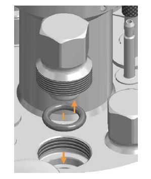 Schematic illustration of an O-ring sealing a port on the bioreactor top plate.